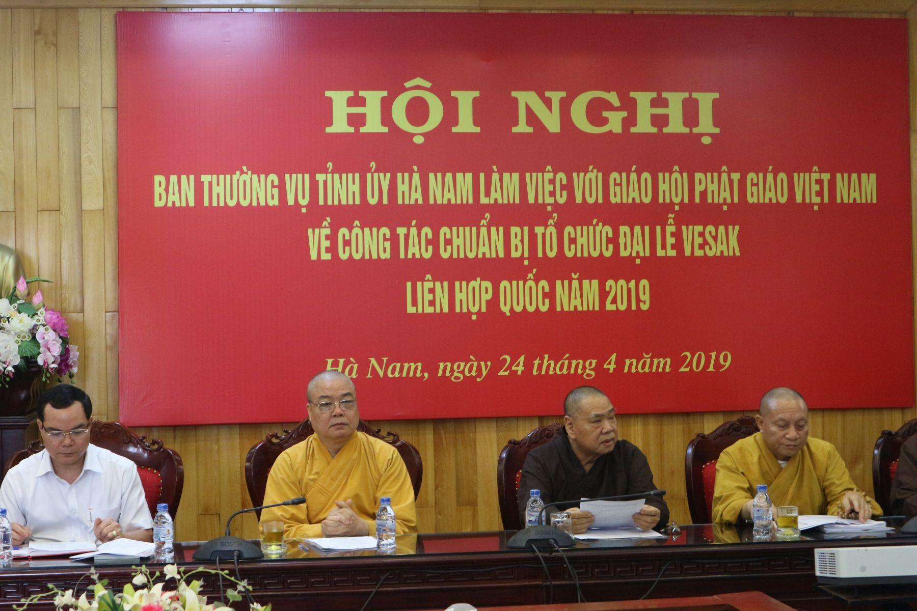 Hà Nam: Ban Thường vụ Tỉnh ủy Hà Nam và Ủy ban Tổ chức Quốc gia Vesak  rà soát công tác chuẩn bị tổ chức Đại lễ Phật đản Liên Hiệp Quốc 2019