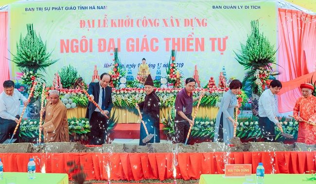 Hà Nam lễ động thổ khởi công ngôi đại giác thiền tự tại khu di tích lịch sử cấp Quốc gia đền Trần Thương